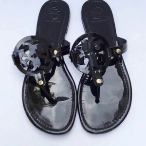 Tory Burch Black Patent Leather Miller Sandals 10